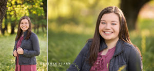 senior portraits in a grassy field